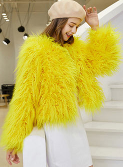 Yellow Crew Neck Short Faux Fur Coat