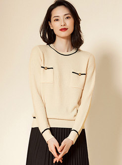 Crew Neck Color-blocked Patchwork Pullover Sweater