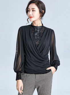 Mock Neck Patchwork Slim Blouse