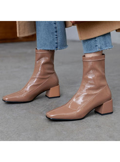 Thick Heel Square Head Short Boots
