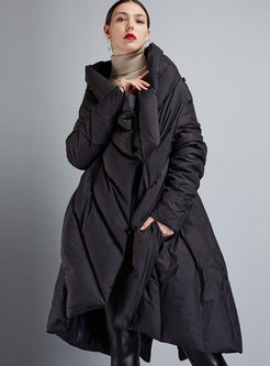 Black Asymmetric Loose Cloak Down Coat