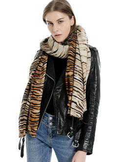 Animal Print Faux Cashmere Scarf