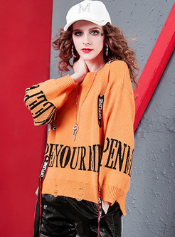 Crew Neck Letter Patchwork Loose Sweater