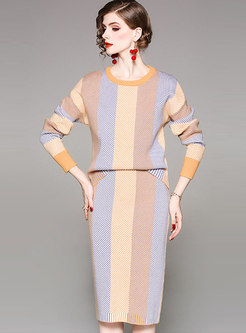 Crew Neck Color-blocked Striped Knit Suit Dress