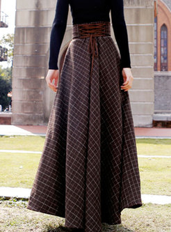 Plaid High Waisted Long A Line Skirt