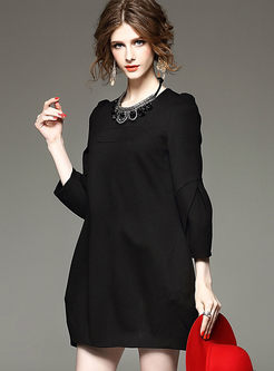 Pure Color Long Sleeve Shift Mini Dress