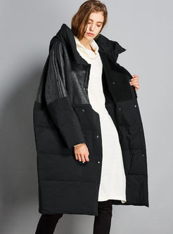Patchwork Long Loose Hooded Puffer Coat