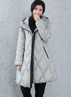 Hooded Diamond A Line Down Coat