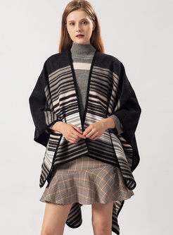 Color-blocked Striped Faux Cashmere Scarf