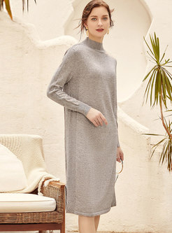 Mock Neck Straight Split Sweater Dress