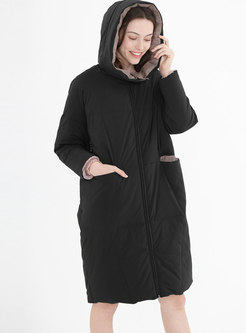 Color-blocked Loose Hooded Orolay Coat