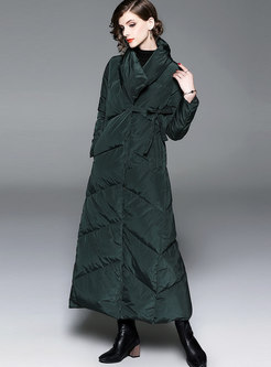 Winter Turn-down Collar Thicken Long Down Coat
