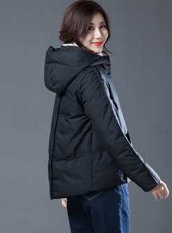 Stylish Solid Color Hooded Cropped Down Jacket