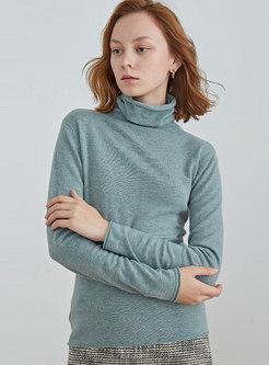 Solid Color Turtleneck Slim Wool Sweater