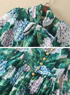 Crew Neck Print Maxi Beach Dress