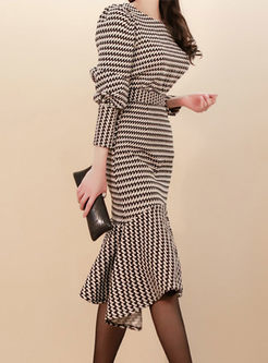 Long Sleeve Slim Bodycon Peplum Two Piece Dress