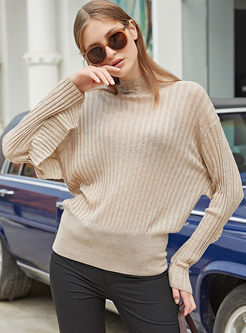 Mock Neck Pullover Bat Sleeve Sweater