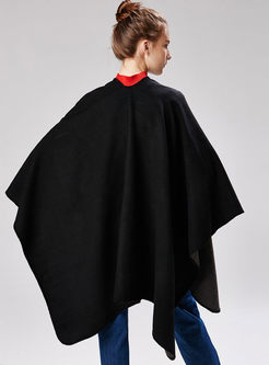Black Thicken Faux Cashmere Poncho Scarf