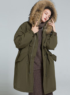 Hooded Waisted Orolay Coat With Drawcord