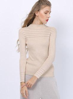 Mock Neck Slim Pullover Sweater