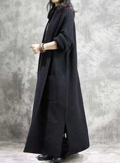 V-neck Slit Long Sweater Coat With Pockets