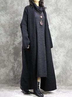 V-neck Slit Long Sweater Coat With Pockets