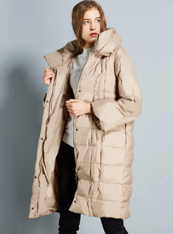 Mock Neck Pleated Straight Loose Puffer Coats