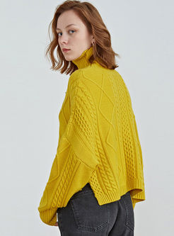Turtleneck Pullover Loose Cropped Sweater