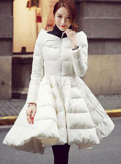 Mock Neck Patchwork A Line Puffer Coat