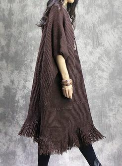 Plus Size Crew Neck Fringed Sweater Dress