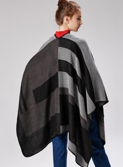 Color-blocked Striped Cloak Thick Scarf