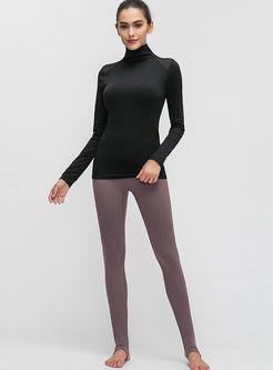 Solid Color Turtleneck Slim Workout Top