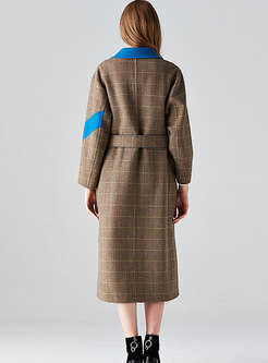 Plaid Color-blocked Split Wool Coat