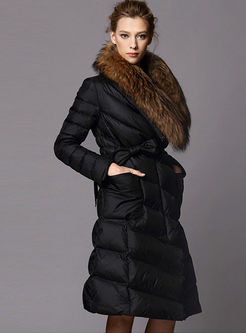 Fur Collar Duck Down Long Puffer Coat