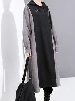 Color-blocked Patchwork A Line Hooded Sweatshirt Dress