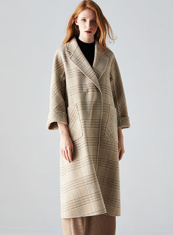 Plaid Loose Wool Coat With Belt