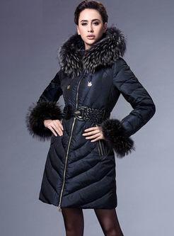Hooded Slim Puffer Coat With Belt