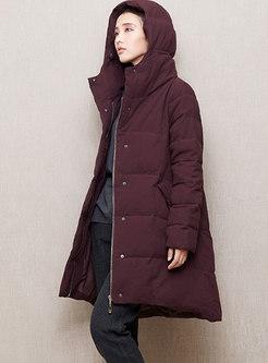 Hooded A Line Puffer Coat