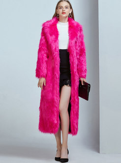Solid Color Notched Long Faux Shearling Coat