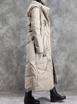 Winter Hooded Embroidered Long Down Coat
