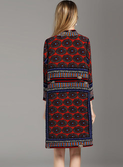 Ethnic Turtleneck Print Pleated Shift Dress