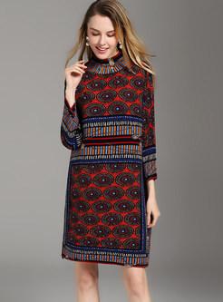 Ethnic Turtleneck Print Pleated Shift Dress