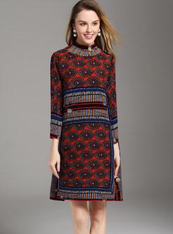 Ethnic High Neck Print Pleated Mini Shift Dress