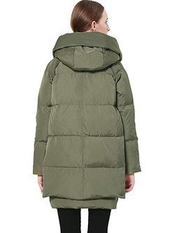 Hooded Side Zipper Slim Puffer Coat