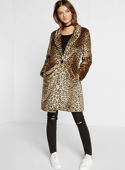 Lapel Leopard Loose Teddy Coat