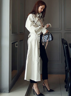 Mock Neck Long Sleeve A Line Trench Coat