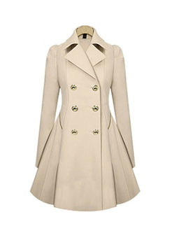 Solid Color Pleated A Line Trench Coat