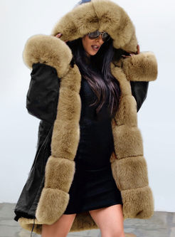 Fur Collar Hooded Ptchwork Loose Coat