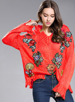 Embroidered V-neck Asymmetrical Loose Sweater