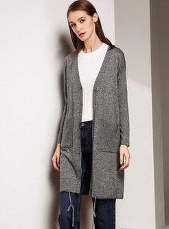 V-neck Zip-up Long Sleeve Sweater Coat